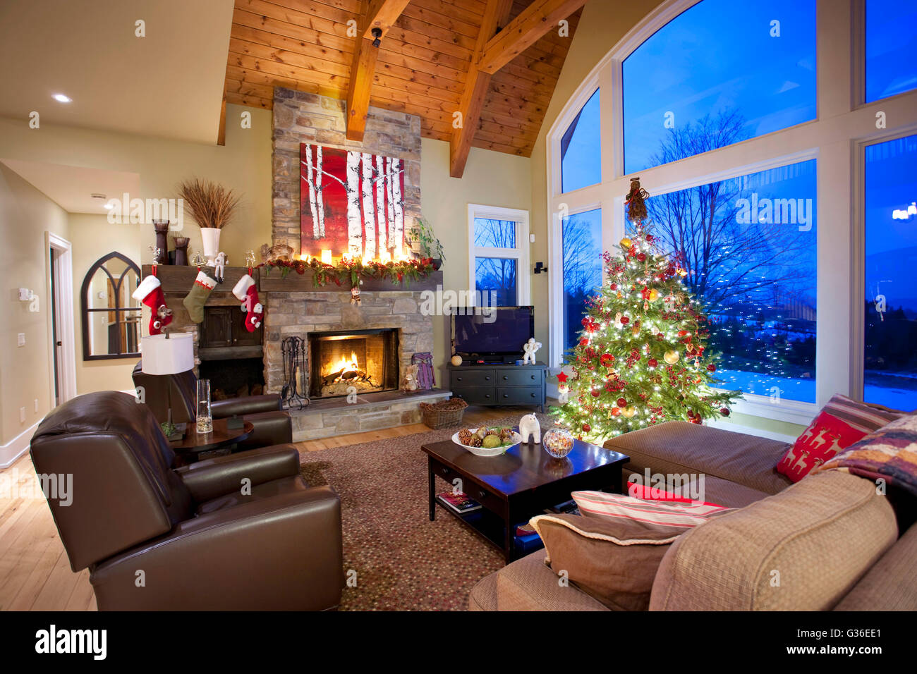 Christmas tree in living room with fireplace north - Christmas tree in living room ...