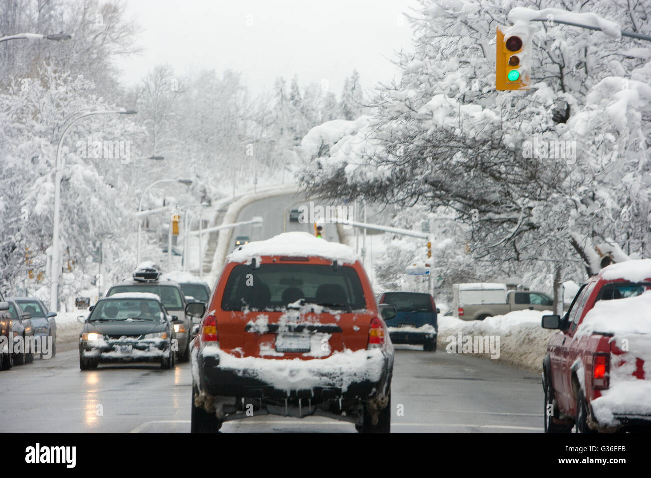 winter driving on a slippery road,  Canada, Ontario - Stock Image