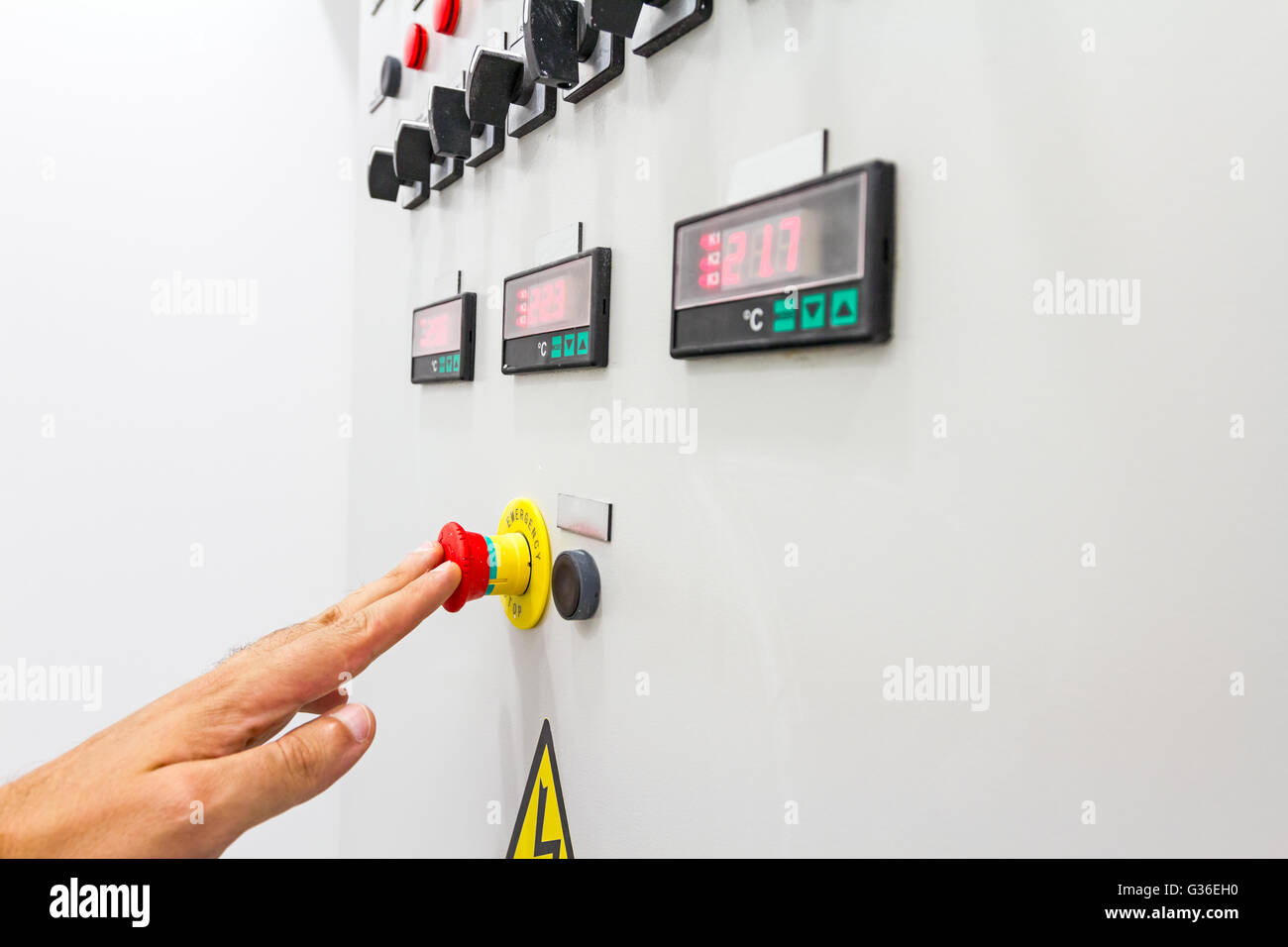 Fuse Box Stock Photos Images Alamy Ads Activation Or Shutdown With Display For Digital Temperature Gauge Warning Sticker And