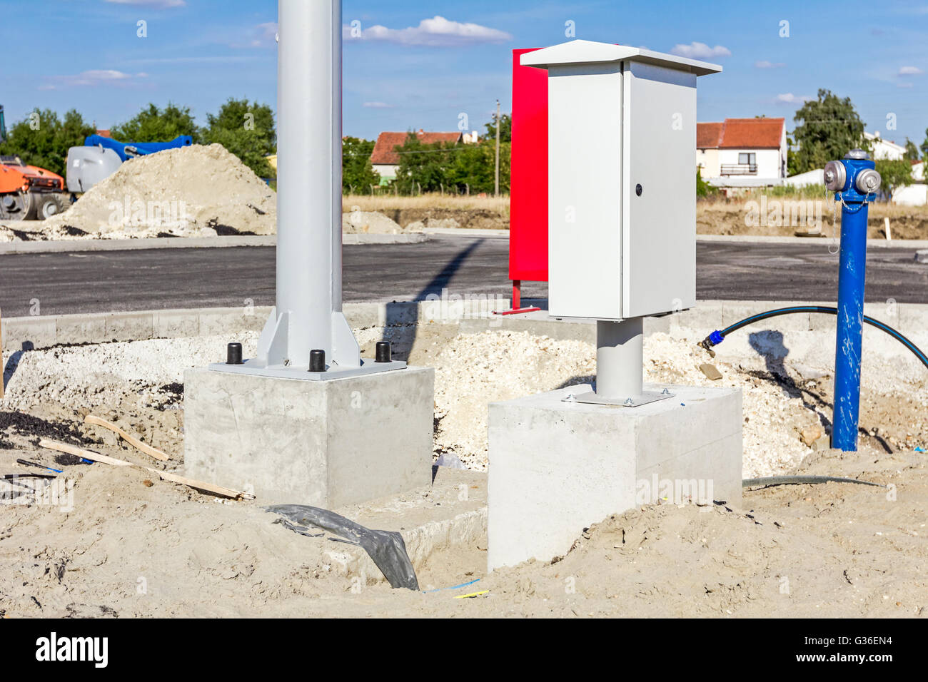 Fuse Cabinet Stock Photos Images Alamy Box Pipe New Small Distribution On Construction Site Next To The Pole Base And Hydrant