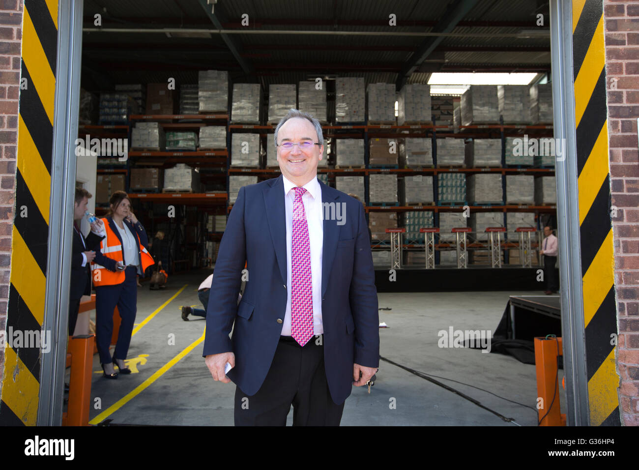 Vote Leave campaign event, Denys C. Shortt CEO of DCS Group soap manufacturers speaking at in Stratford-upon-Avon, - Stock Image