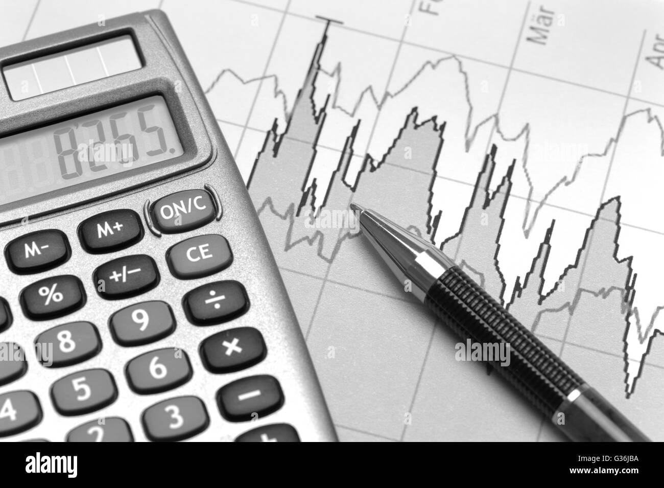 chart of financial budget calculation stock photo 105252318 alamy