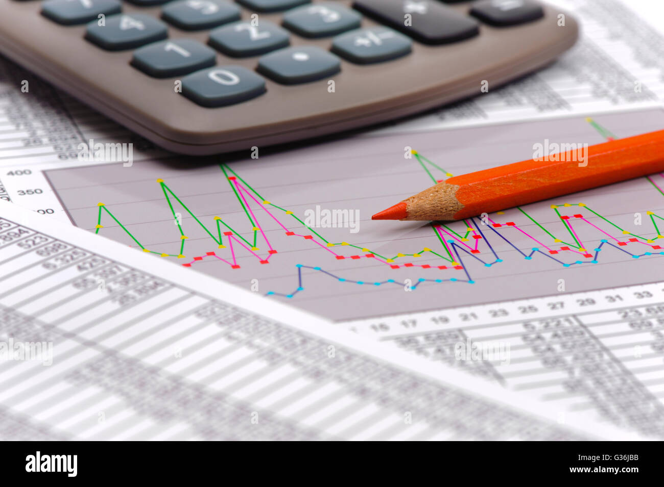 chart of financial budget calculation - Stock Image