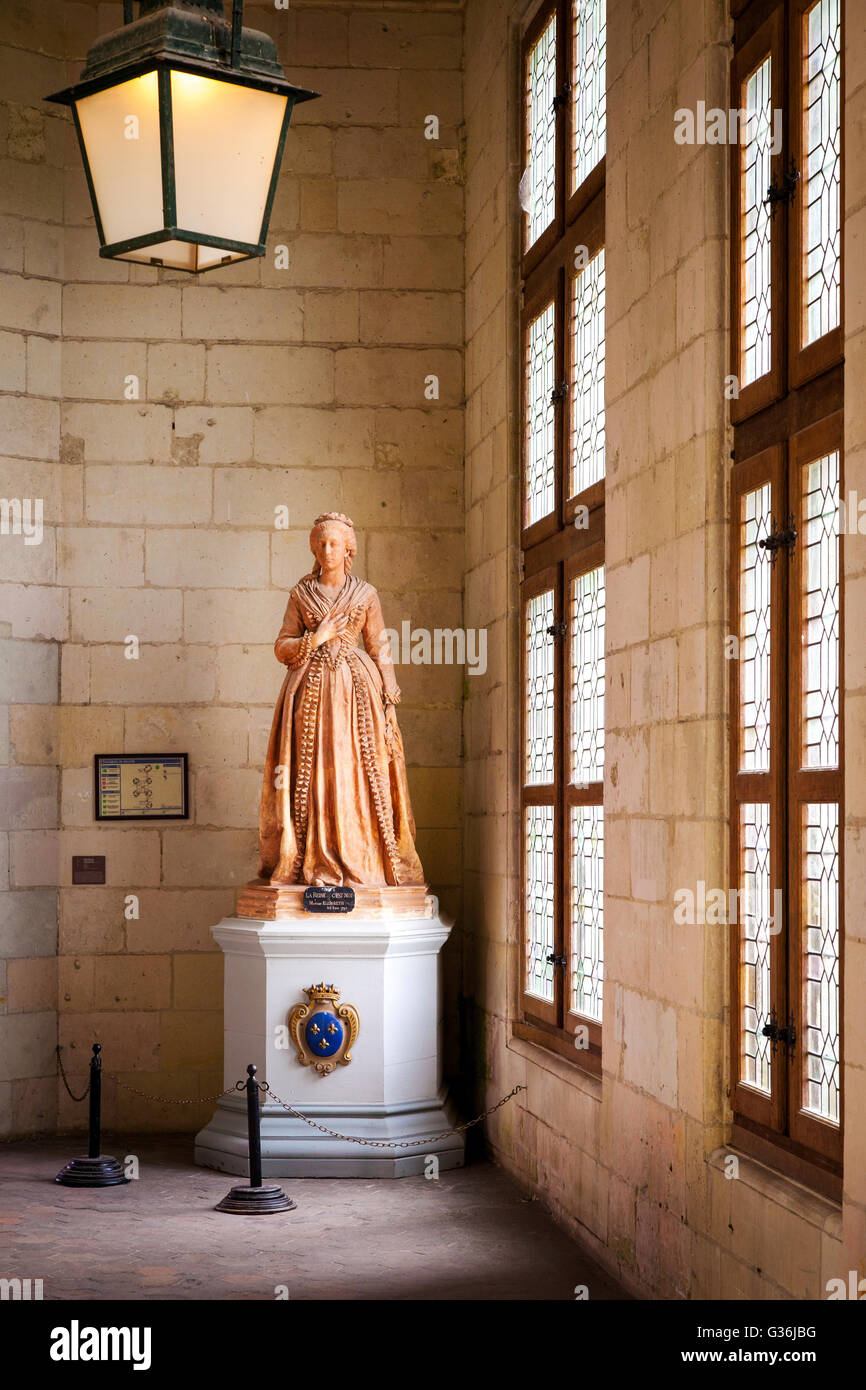 Statue of 'Madame Elisabeth' princess and youngest sister of Louis XVI, Chateau de Chambord, Loire Valley, - Stock Image
