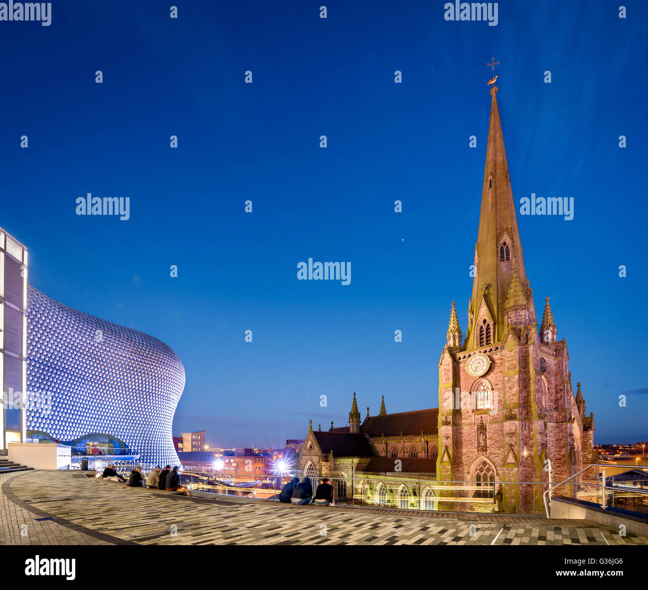 The church of St Martin in the Bull Ring in Birmingham England is  the original parish church of Birmingham - Stock Image