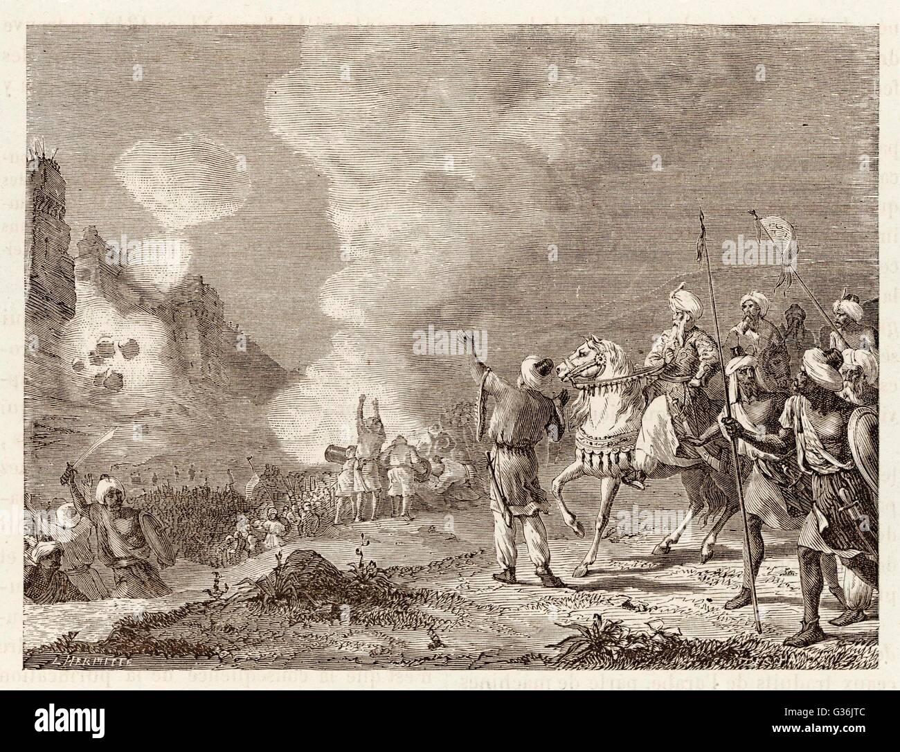 MOROCCO - Abu-Yusuf, Sultan, use  gunpowder to bombard Sidi- Mesa.       Date: 1273 - Stock Image