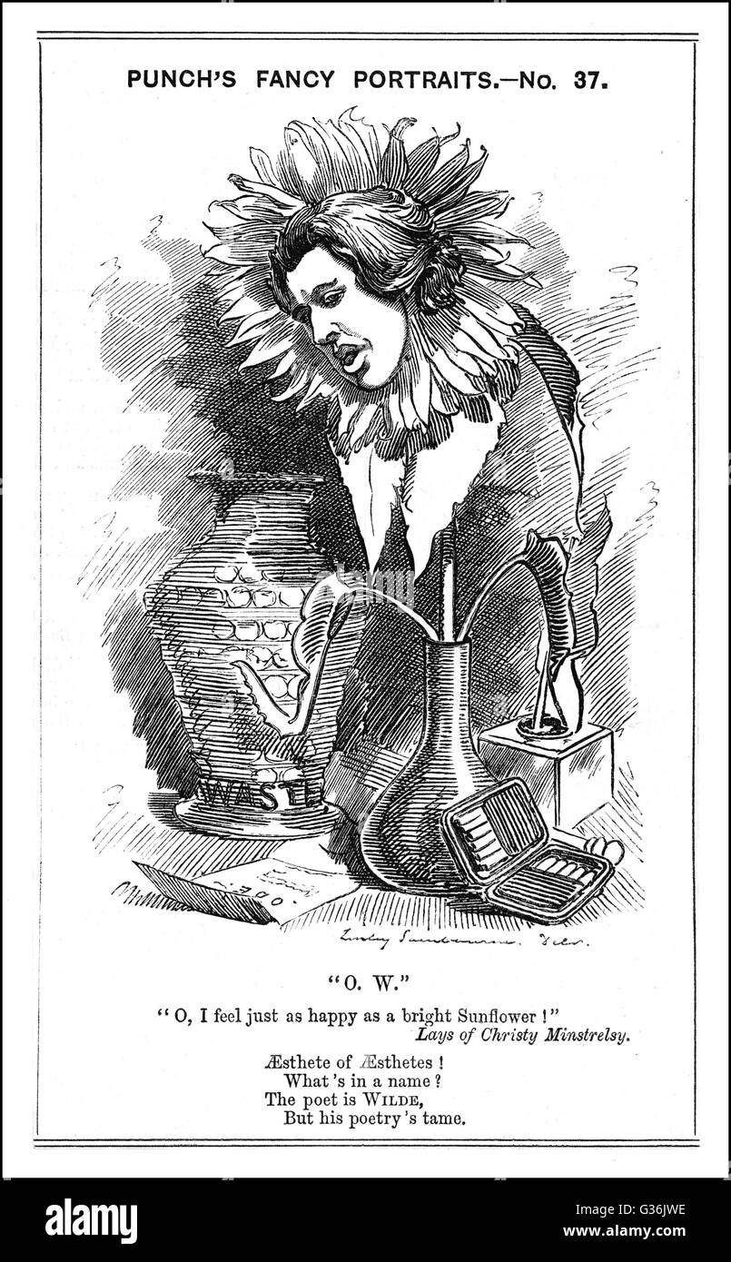 Oscar Wilde - IRISH PLAYWRIGHT   Cartoon Portrayal       Date: 1856-1900 - Stock Image