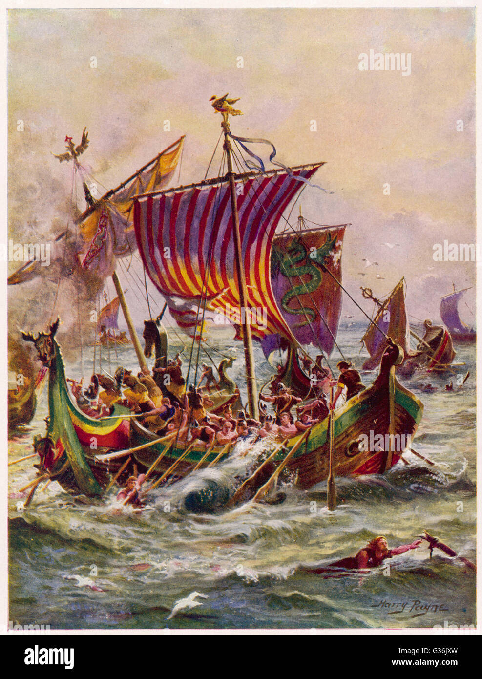 King Alfred's galleys in battle with Vikings.          Date: 897 - Stock Image