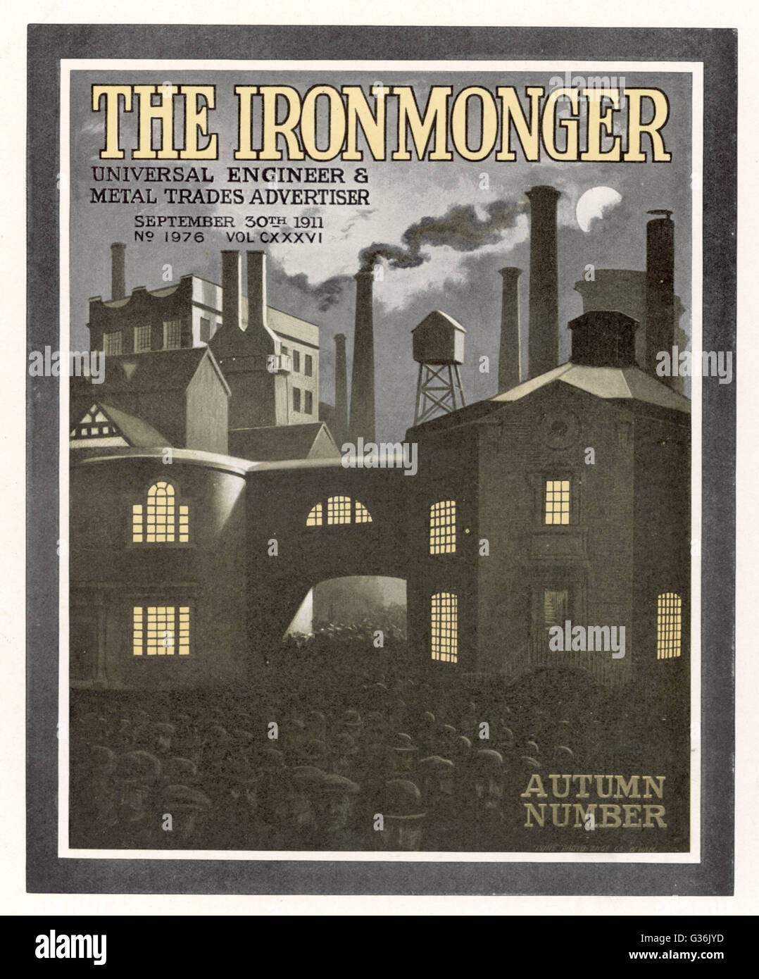 British factory exterior, as depicted on the cover of The Ironmonger magazine.     Date: 1911 - Stock Image