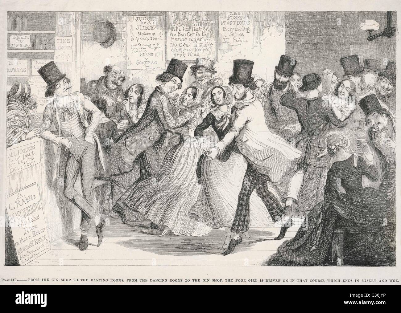 The Drunkard's Children, scene 3    Brother and sister get into undesirable company at the dance hall.     Date: - Stock Image