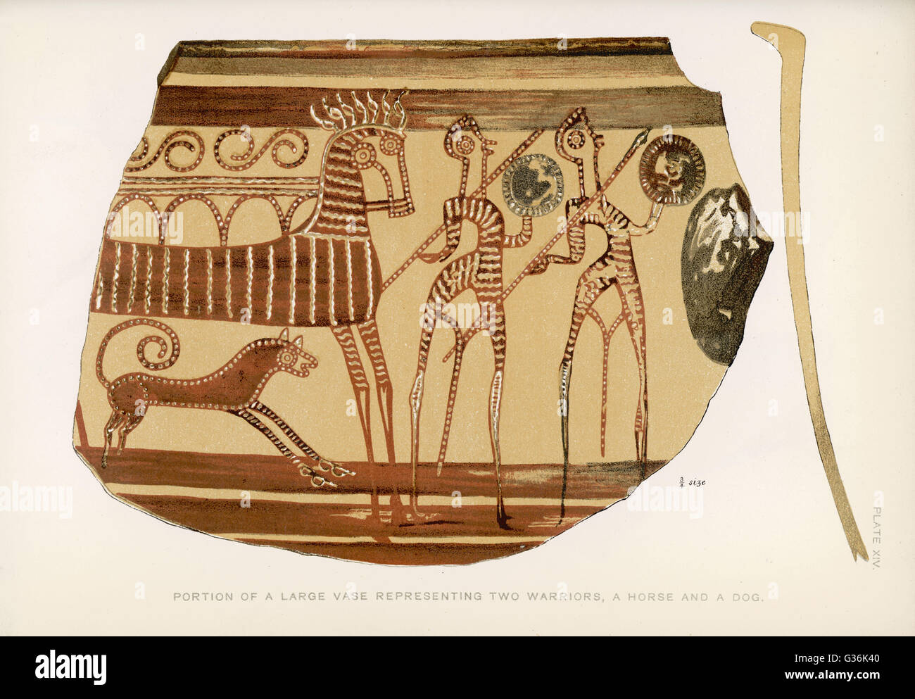 The design on a Greek vase, depicting two warriors with a horse and a dog.  It was found in Tiryns, an archaeological - Stock Image