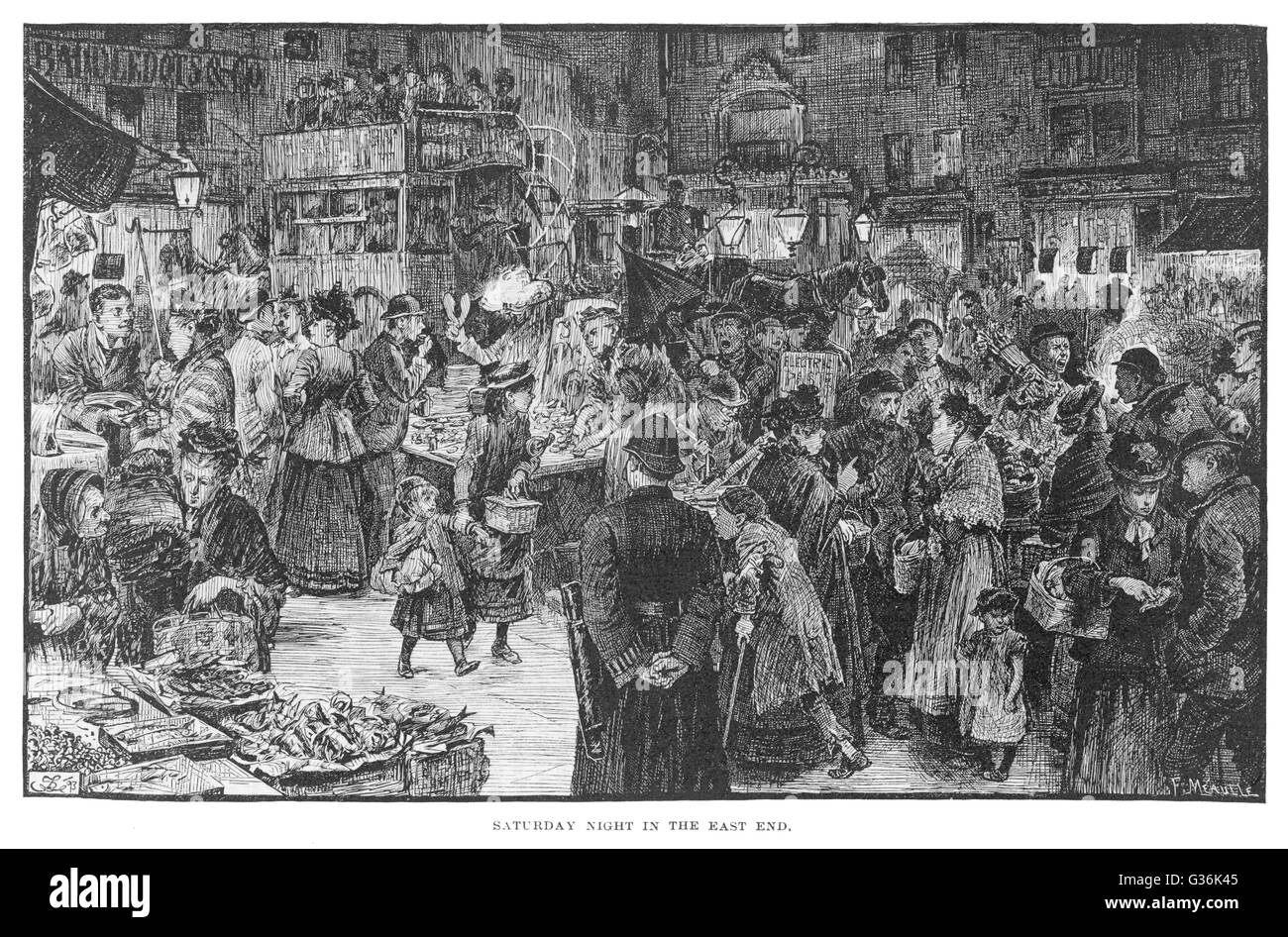 Saturday evening shopping in the East End of London, with a lot of people milling around.      Date: 1894 - Stock Image