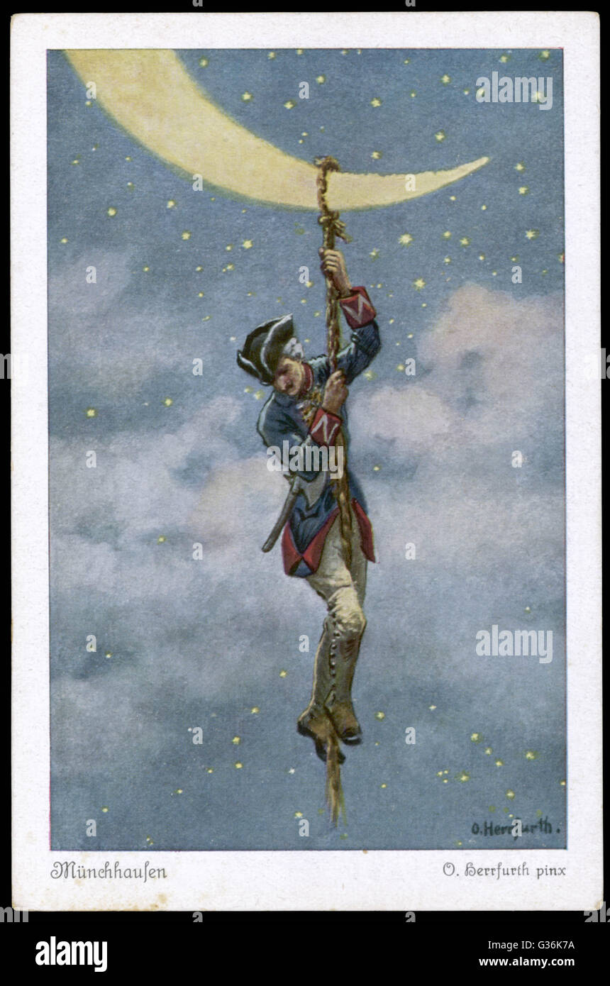 Baron Munchhausen climbs to the Moon.          Date: First published: 1785 Stock Photo