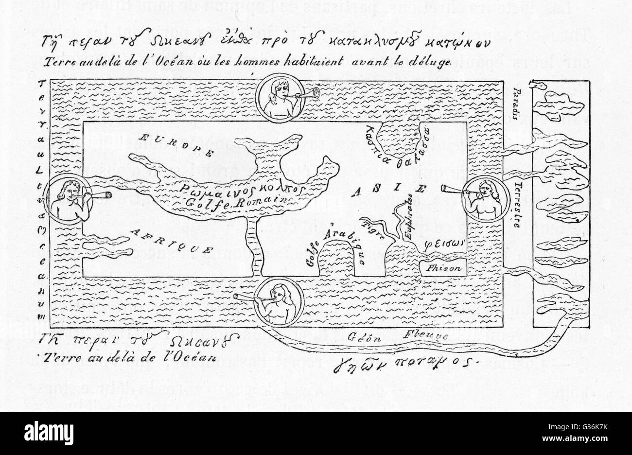 6th century World Map according to Cosmas Indicopleustes & his contemporaries        Date: circa 540AD - Stock Image