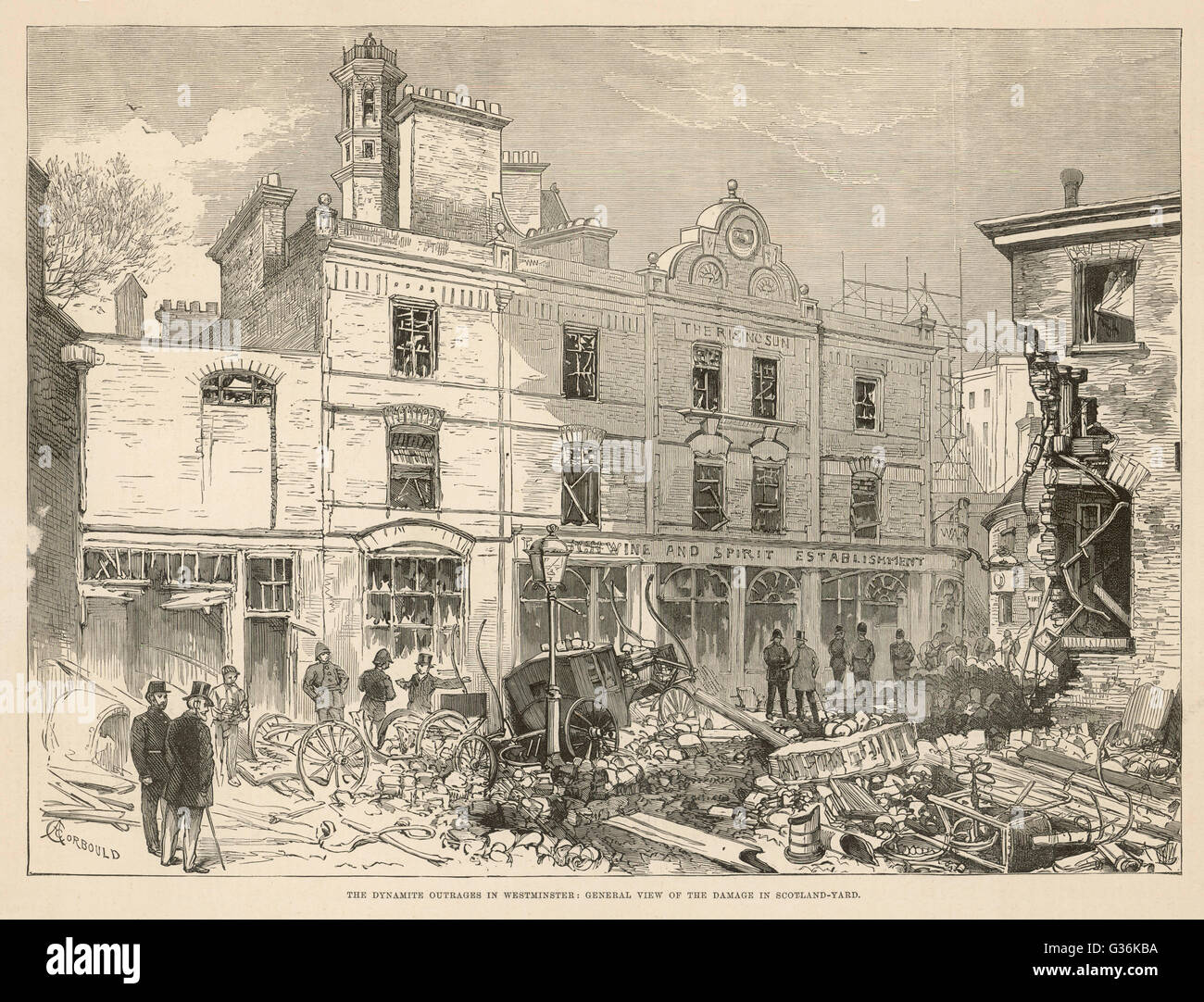 Fenian terrorism in England. Result of dynamite explosion  in Scotland Yard, Westminster        Date: 1884 - Stock Image