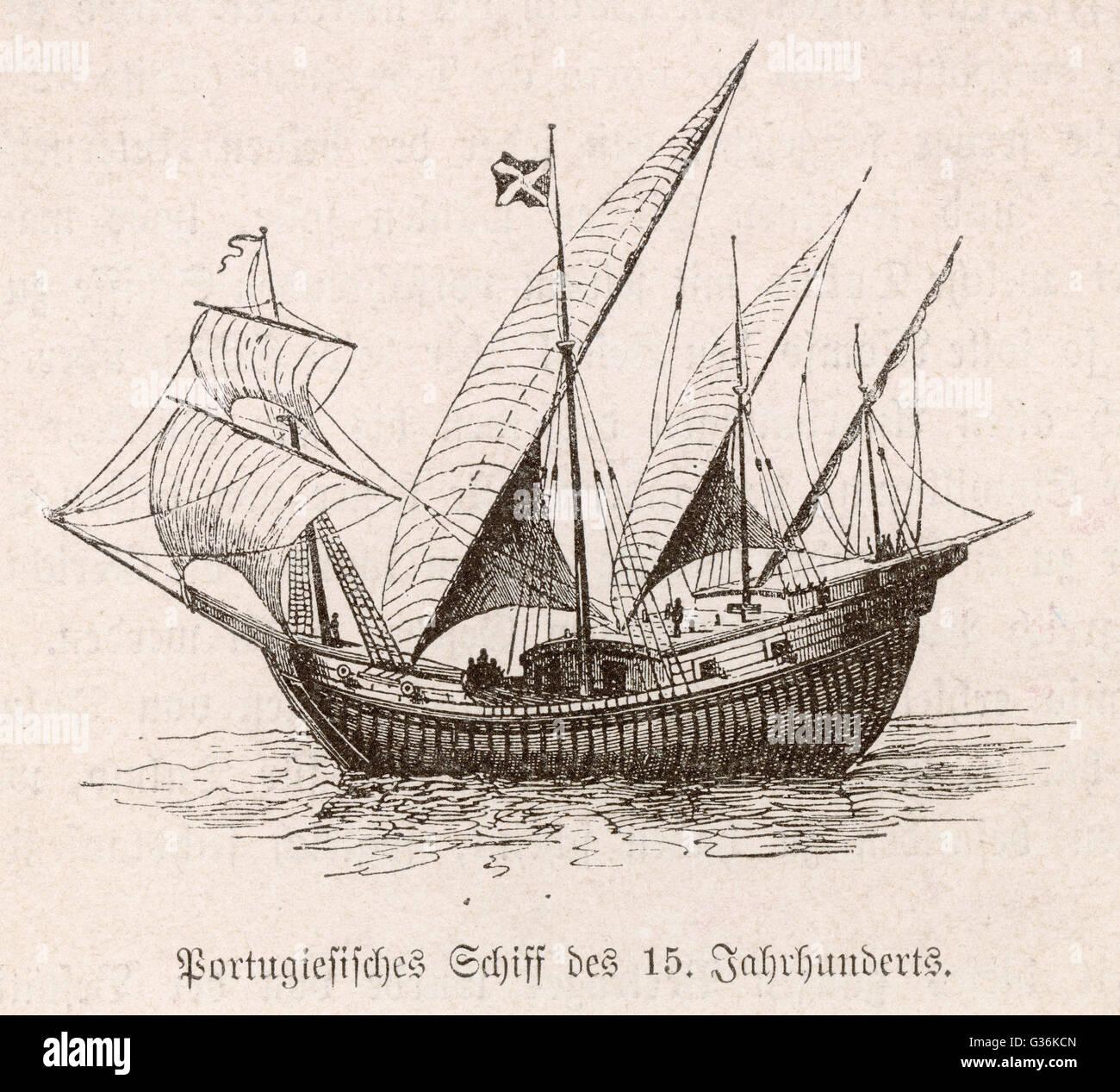 Portuguese caravel          Date: 15th century - Stock Image