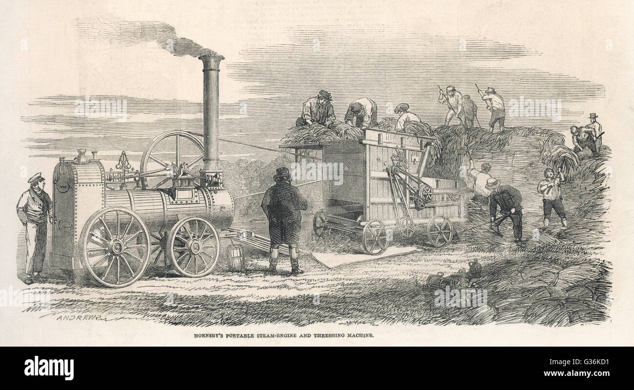 Hornsby's Steam powered  thresher         Date: 1851 - Stock Image