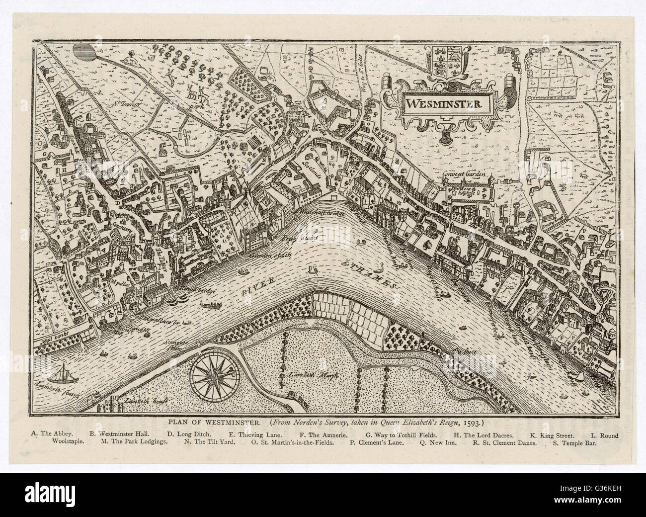 Map of Westminster, London, 1593     Date: 1593 - Stock Image