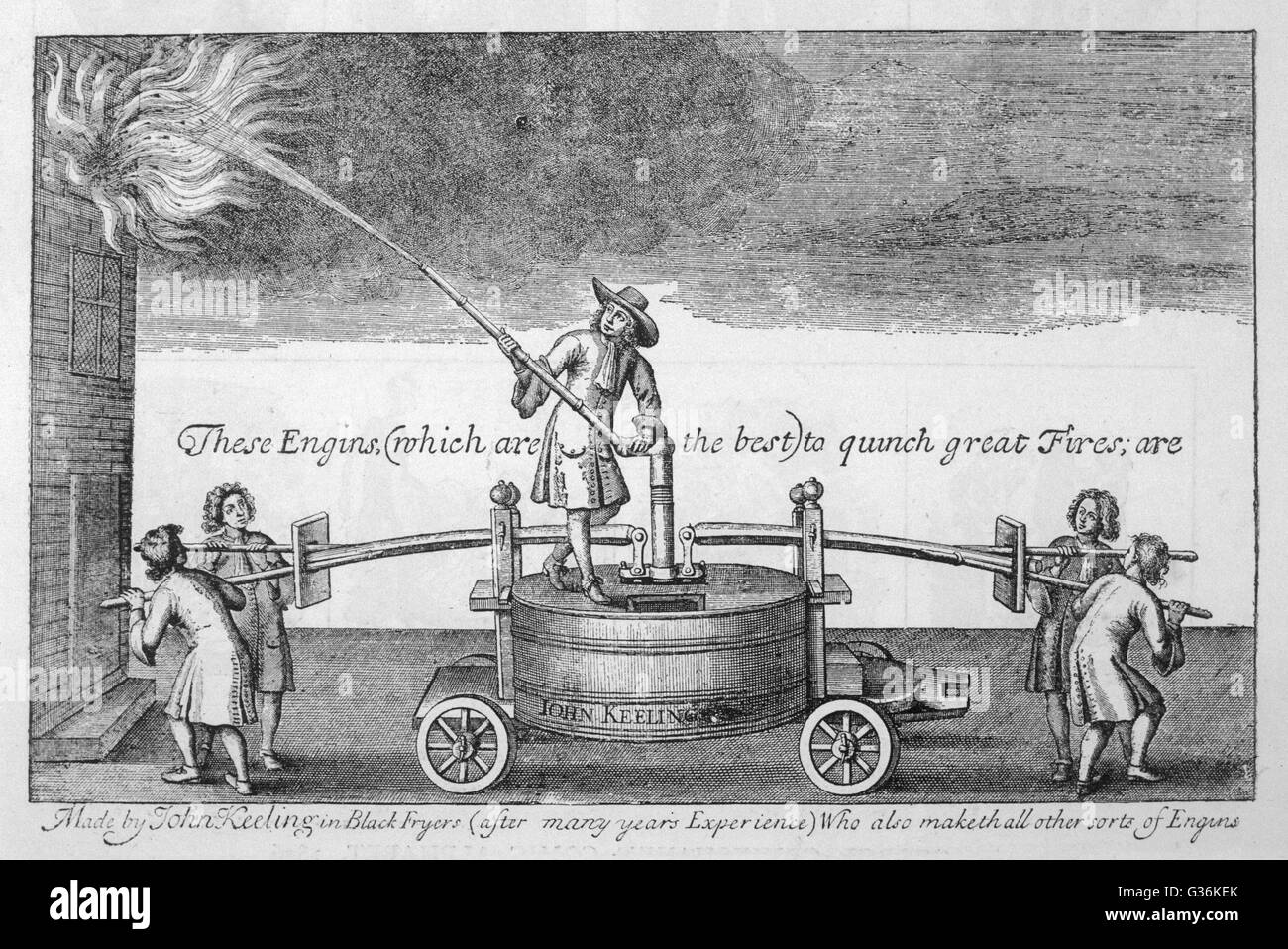 John Keeling's appliance for putting out fires     Date: 1678 - Stock Image