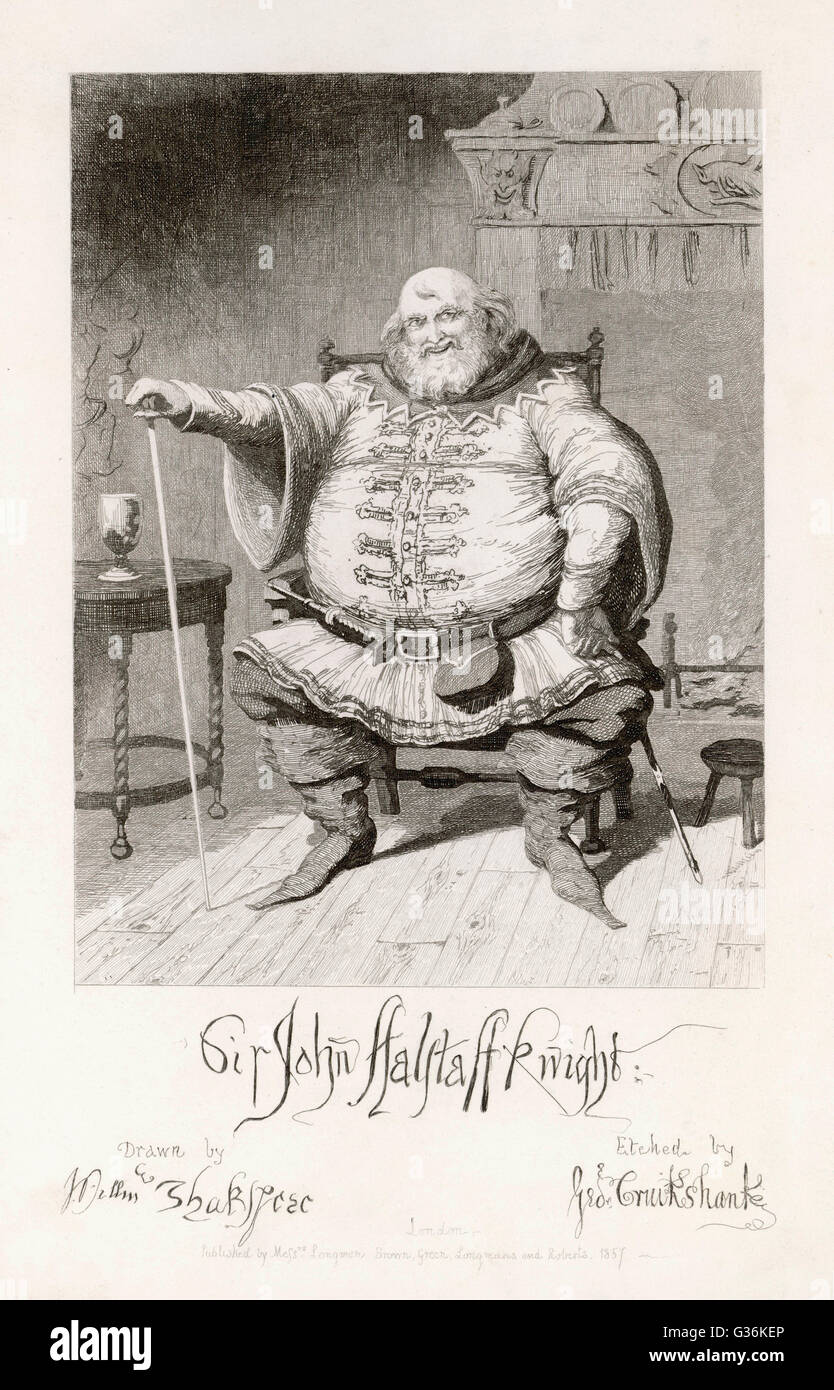 Falstaff from Henry IV by Shakespeare     Date: 1857 - Stock Image