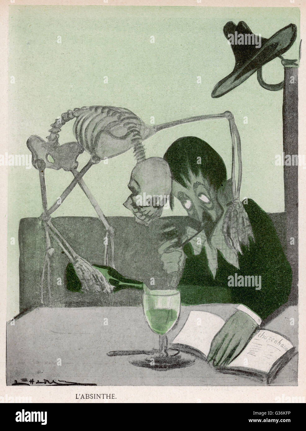 Allegory on the dangers of drinking Absinthe         Date: 1903 - Stock Image