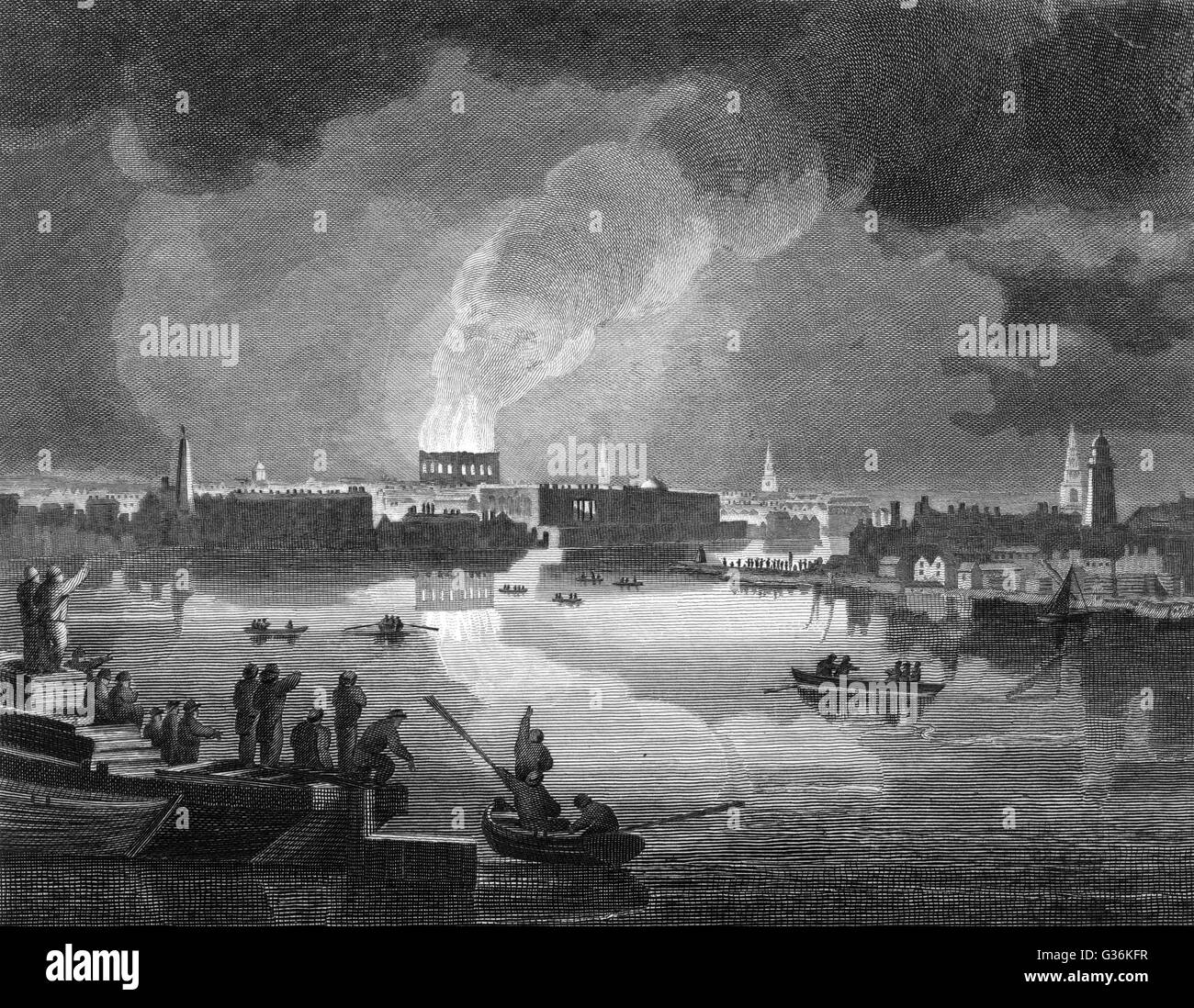 Drury Lane Theatre, taken from  Westminster Bridge showing the fire during the  Conflagration on the Night of  24 - Stock Image