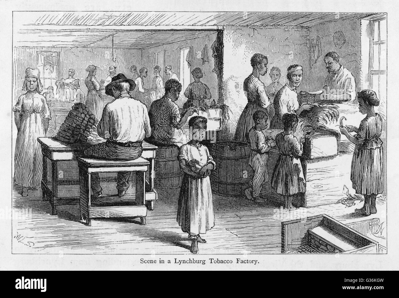 Virginia, USA : tobacco factory at Lynchburg         Date: 1874 - Stock Image