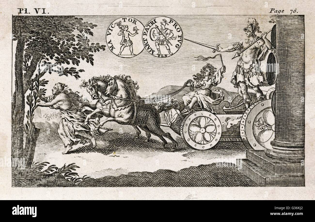 The Roman god Mars on his chariot - Stock Image