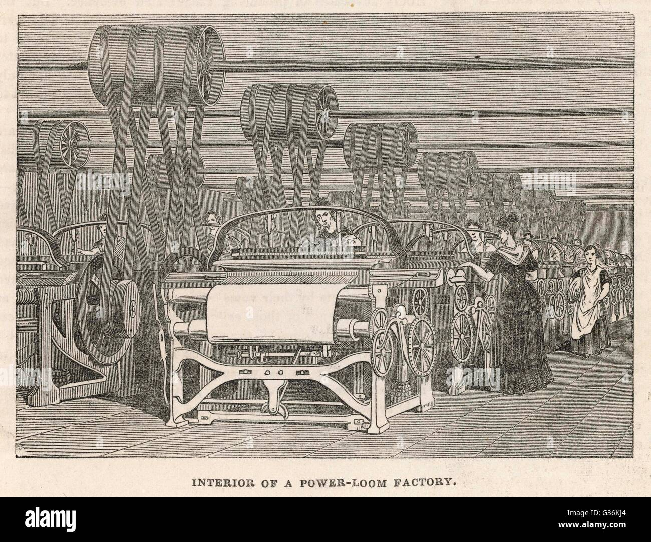 Women at work in a power-loom factory, Lancashire Date: 1844