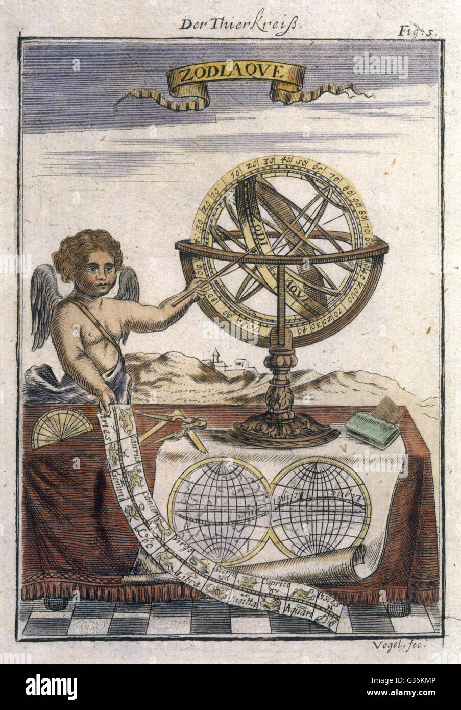 Allegorical depiction of the Zodiac from the 17th century     Date: 17th century - Stock Image