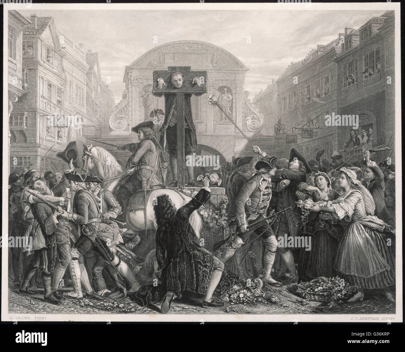 Daniel Defoe (1661-1731) in the pillory, London, 1702, for publishing a  seditious pamphlet Date: 1702