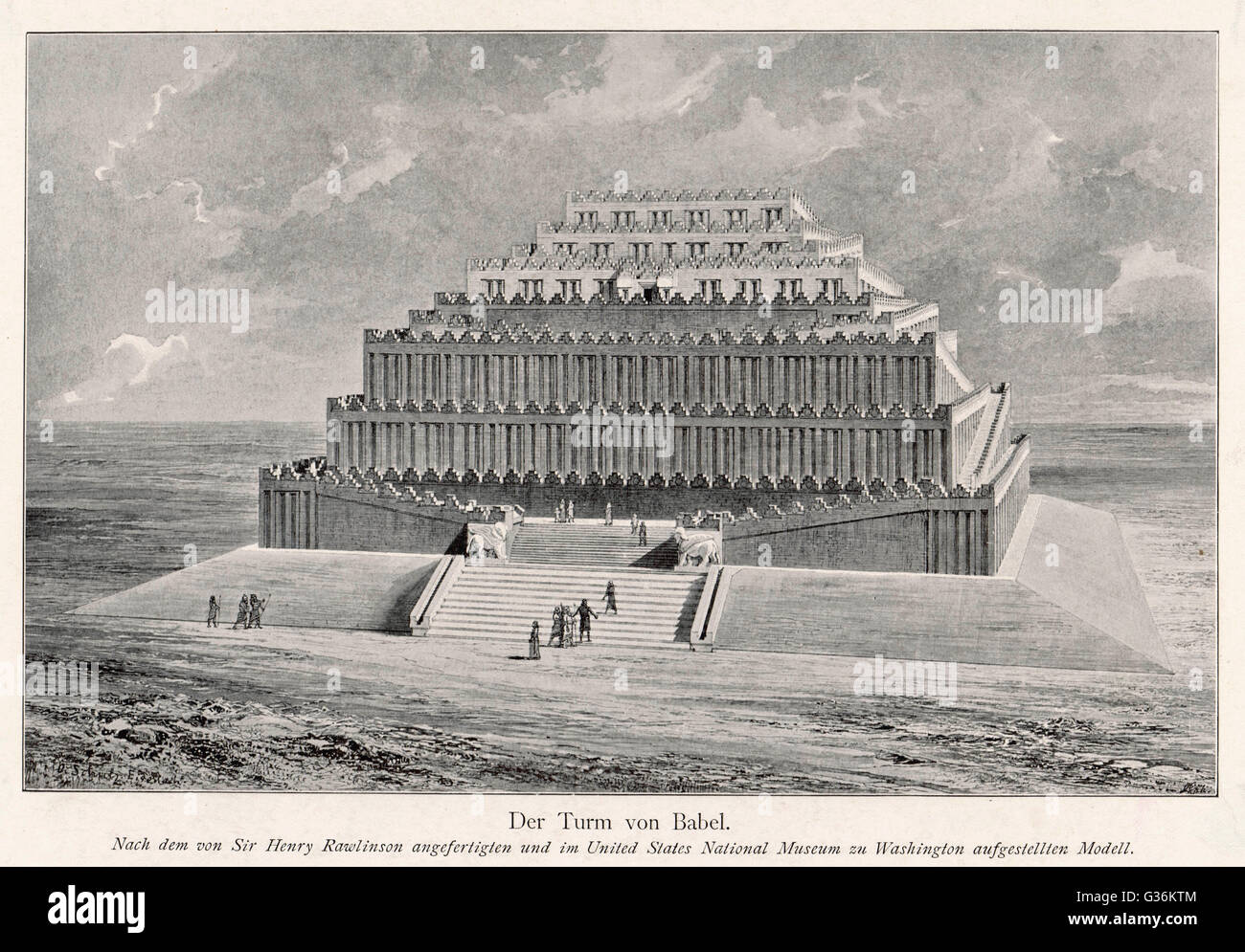 The Tower of Babel  - as reconstructed by sir Henry Rawlinson        Date: BC - Stock Image