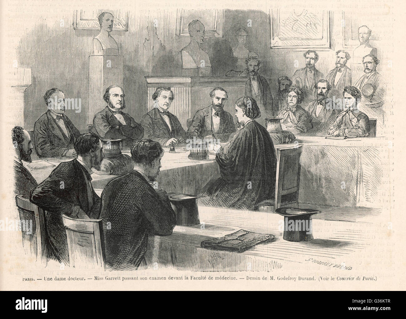 Elizabeth Garrett (later  Anderson) (1836-1917) passes her doctoral  examination at the Faculte de  Medecine, Paris - Stock Image