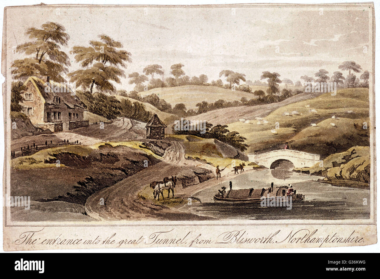 Entrance to the 1100-yard canal tunnel at Blisworth,  Northamptonshire, England     Date: late 18th century - Stock Image