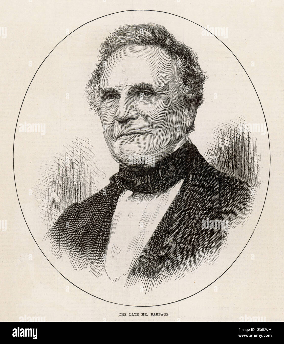 Charles Babbage (1792-1871) Mathematician and engineer - Stock Image