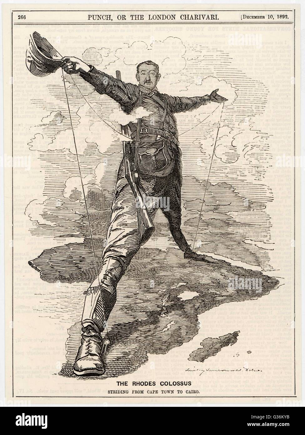 Cecil Rhodes (1853-1902) Statesman, financier,  imperialist. Caricatured as a colossus bestriding Africa - Stock Image