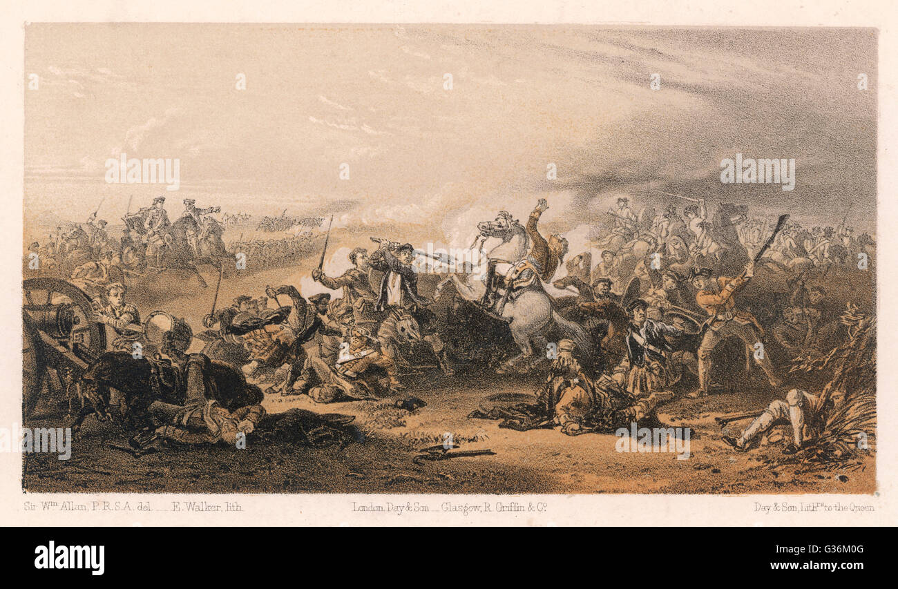 The death of Colonel Gardiner,  on the field of Prestonpans, Scotland during the Jacobite Uprising     Date: 21 Stock Photo