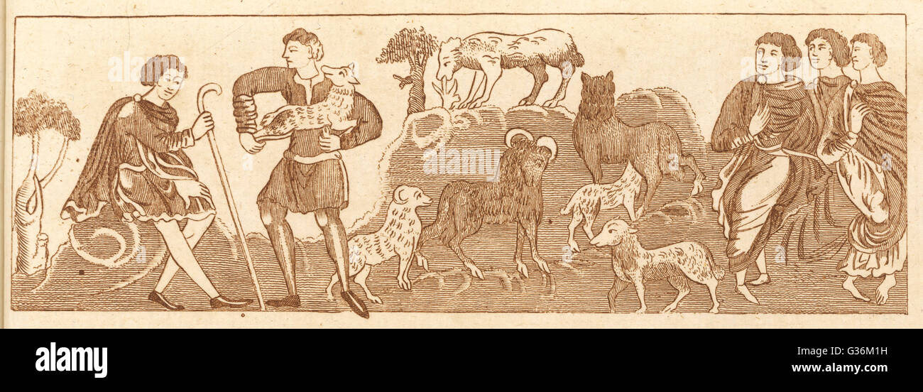 LAMBING in May          Date: 9th Century - Stock Image