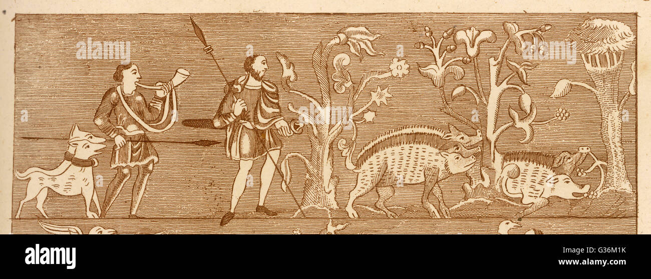 HUNTING wild boar in September          Date: 9th Century - Stock Image