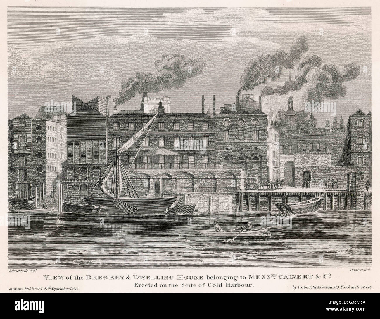 Calvert's Brewery, London  External view ; erected on the  site of Cold Harbour       Date: 1820 - Stock Image
