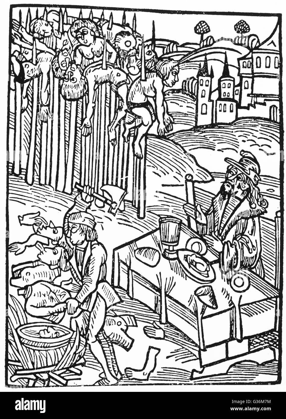Vlad III Tepes (Vlad the Impaler) (1431-1476) Romanian prince of Wallachia Basis of Stoker's 'Dracula' Seen here Stock Photo