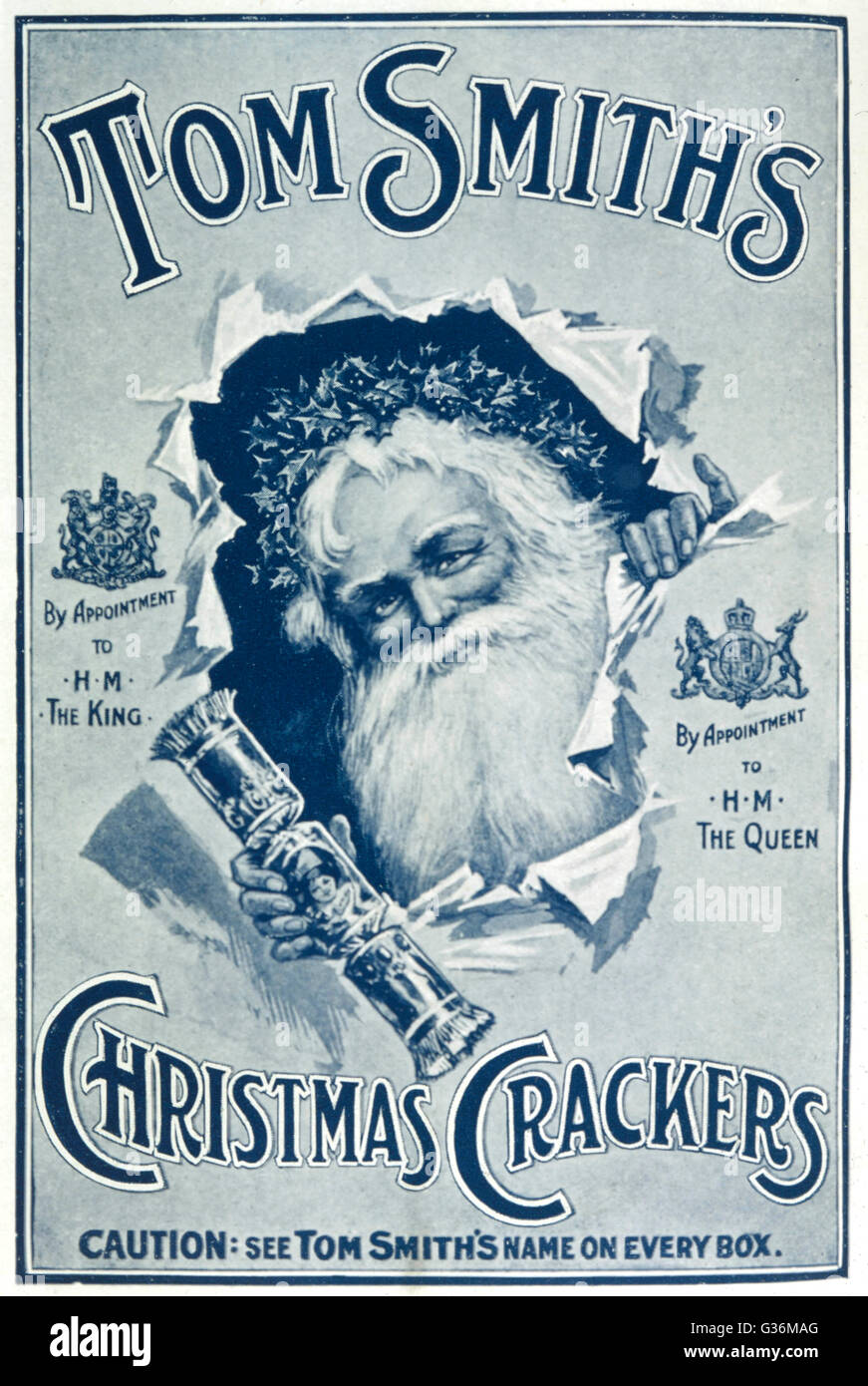 Father Christmas   Advertising Tom Smith's  crackers       Date: 1922 - Stock Image