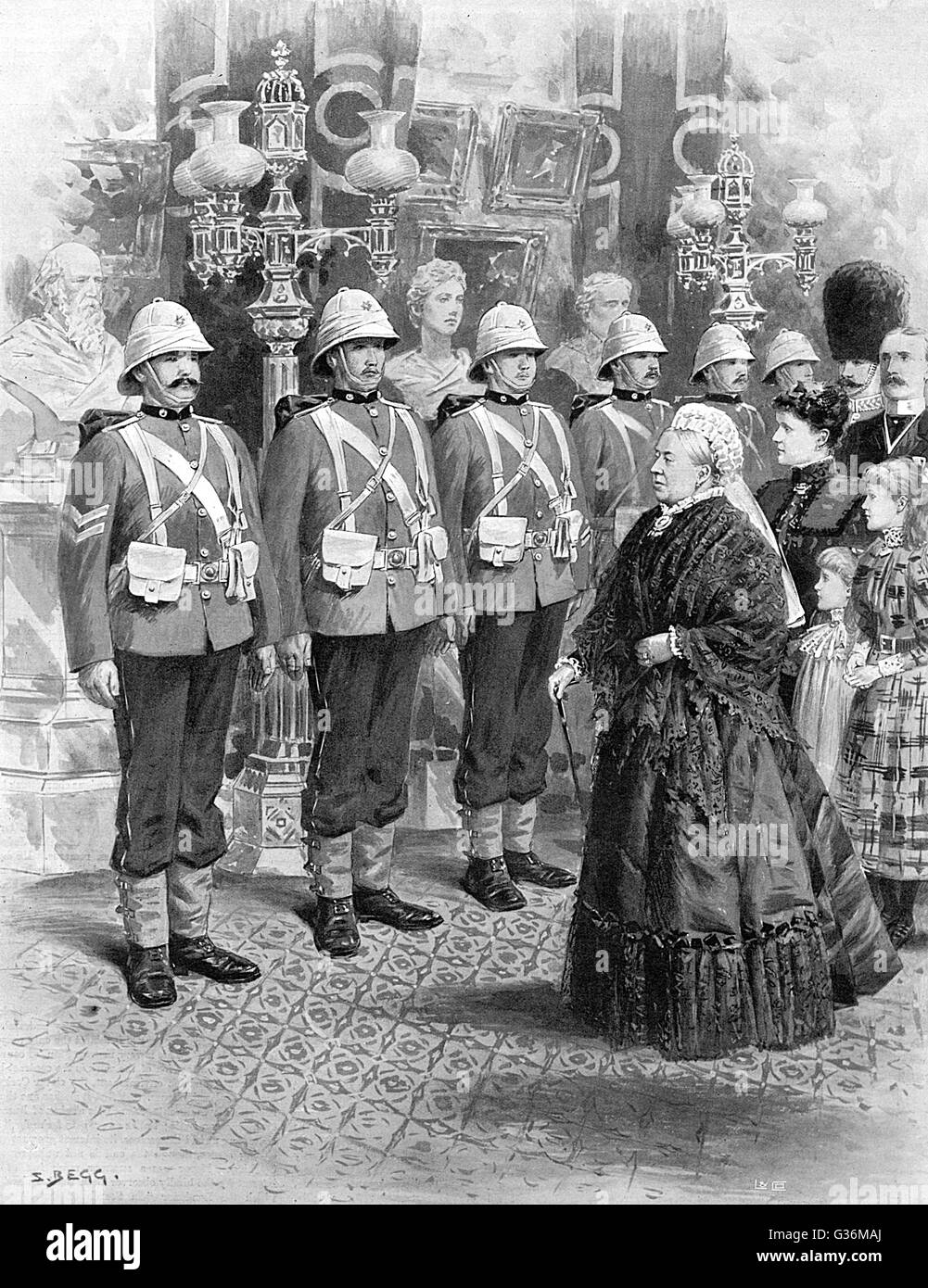 She reviews troops for the Ashanti War, at Windsor         Date: 1895 Stock Photo
