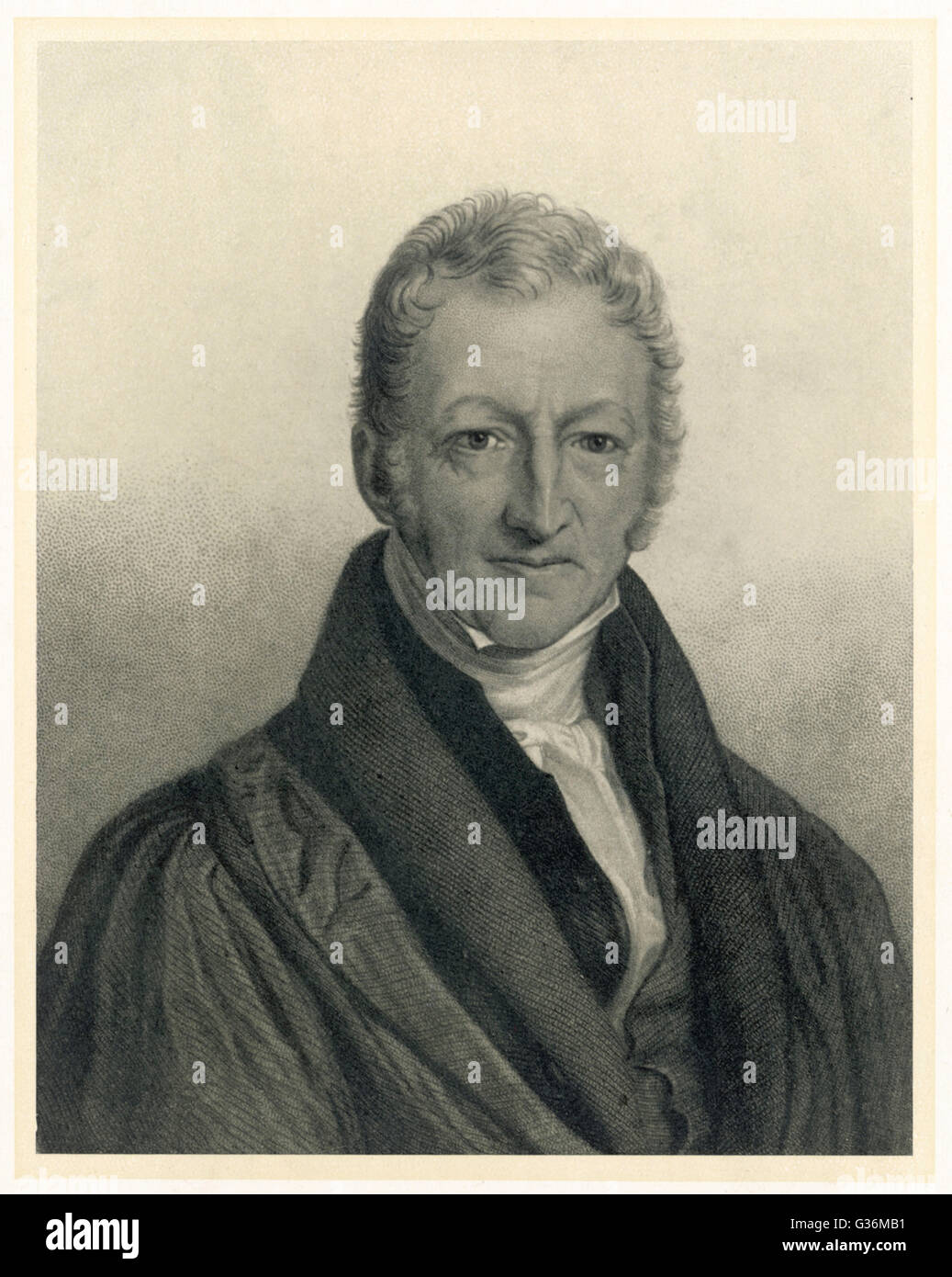 Thomas Robert Malthus (1766-1834) philosopher, known for study  of population - Stock Image