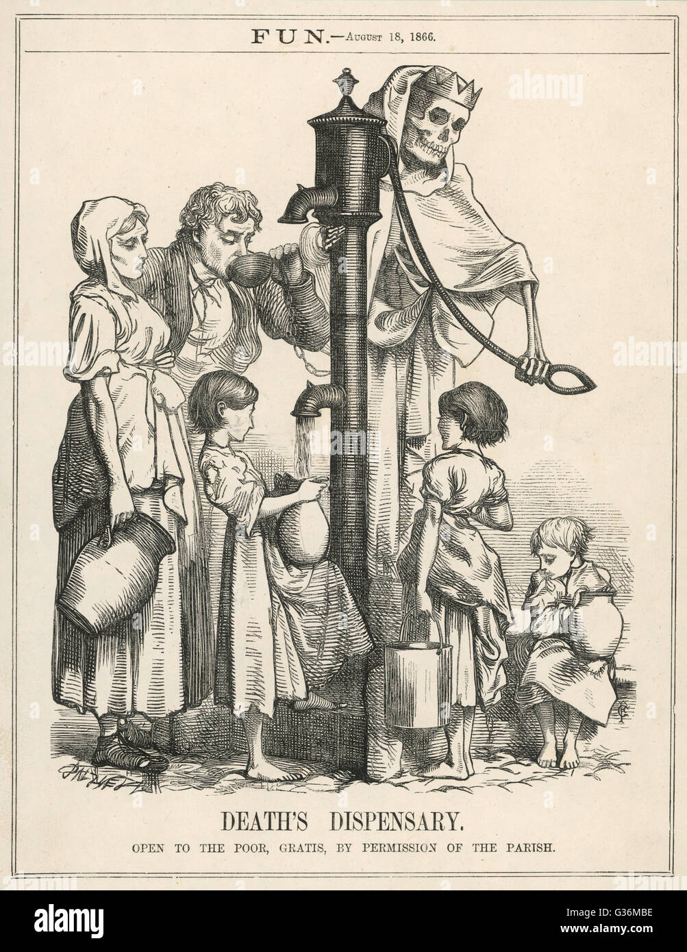 Fun makes a comment on diseased water supply.         Date: 18 August 1866 - Stock Image