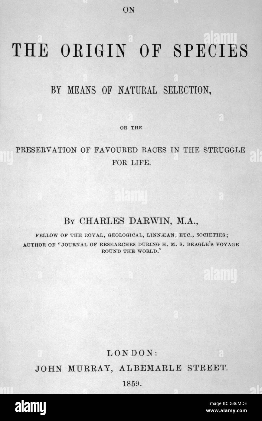 Title-page of Charles Darwin's On The Origin Of Species By  Means of Natural Selection        Date: 1859 - Stock Image