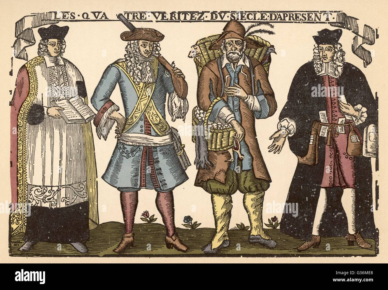 The four classes - the priest,  the soldier, the peasant and  the magistrate        Date: late 17th century - Stock Image