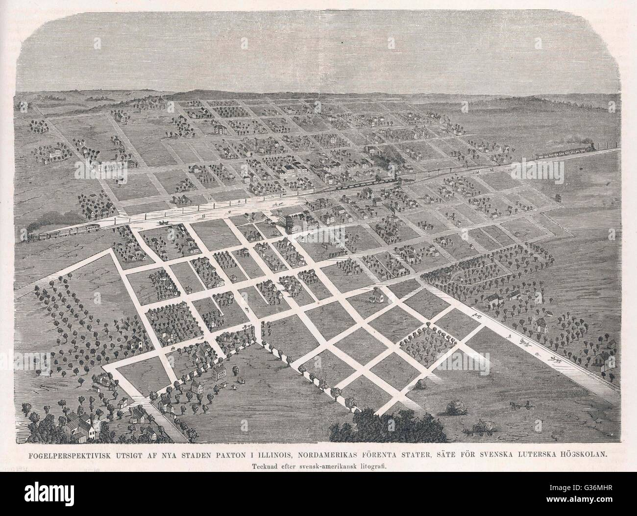 Paxton, Illinois -  the grid system laid out on  the open prairie, on either  side of the rail track       Date: - Stock Image