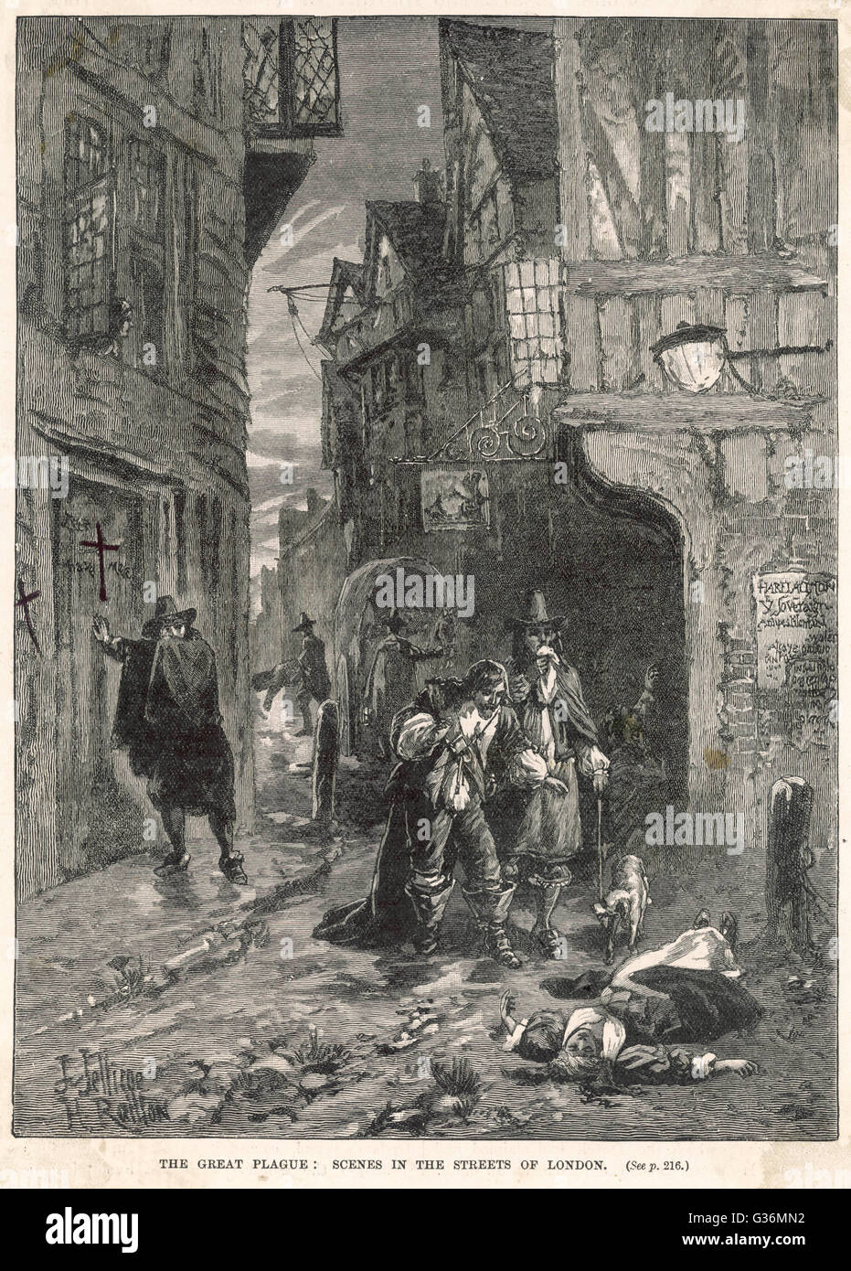 Great Plague of London of 1665. Discovering victims in the London streets  1665 - Stock