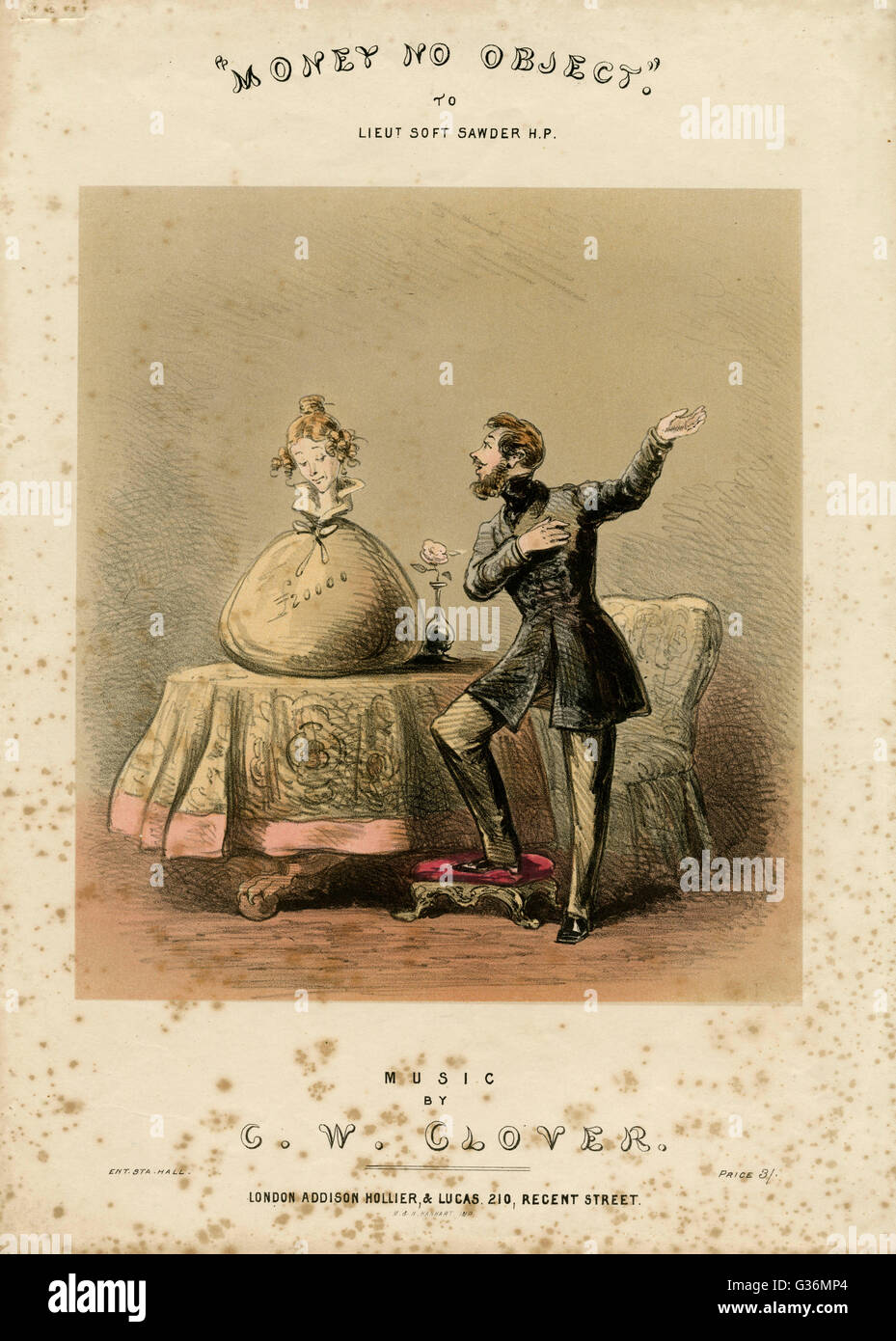 Money no object. Satire on marrying for money     Date: circa 1850s - Stock Image